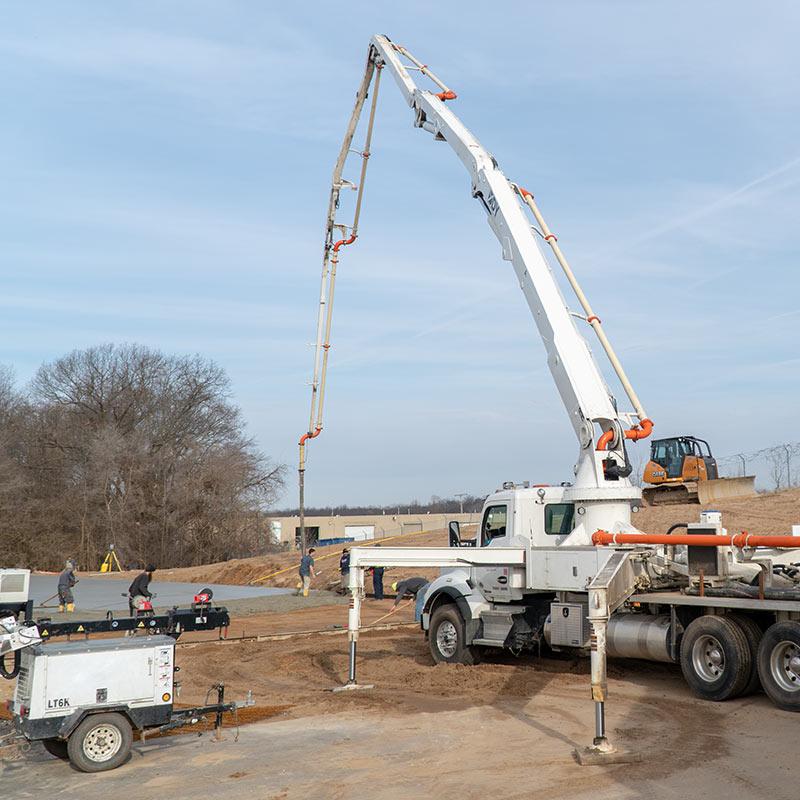 Concrete Pumping Job Site in Goshen, Indiana